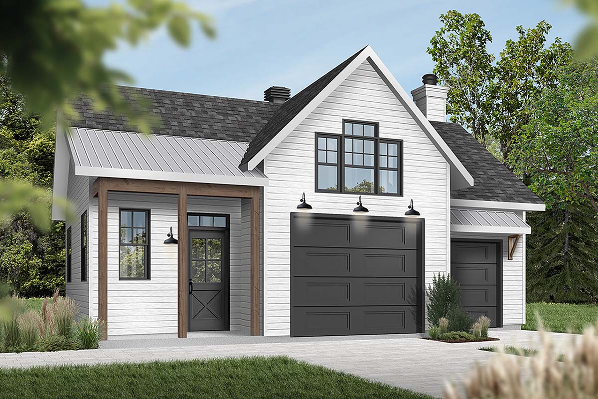 Cape Cod, Contemporary, Farmhouse 1 Car Garage Plan 76560 Elevation