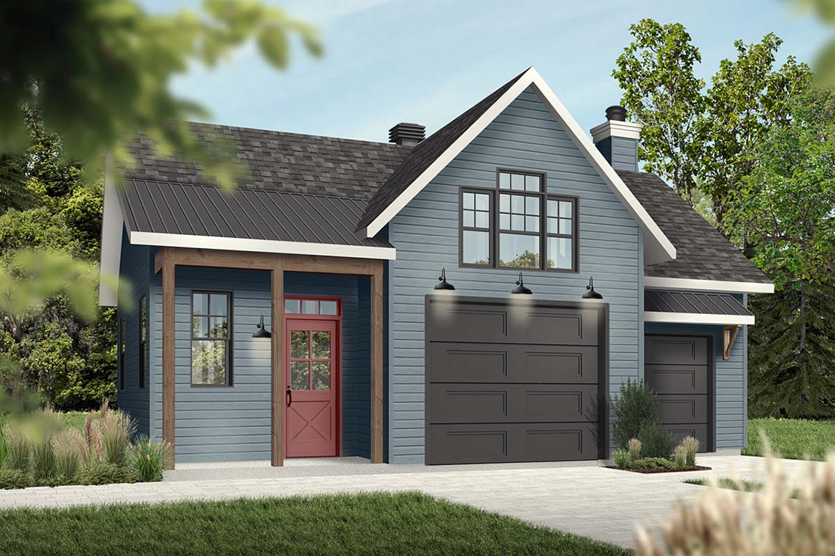 Cape Cod, Contemporary, Farmhouse 1 Car Garage Plan 76560 Picture 1