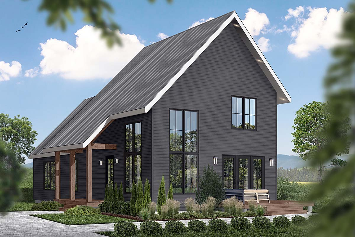 A-Frame, Cabin, Contemporary, Cottage House Plan 76562 with 3 Beds, 3 Baths
