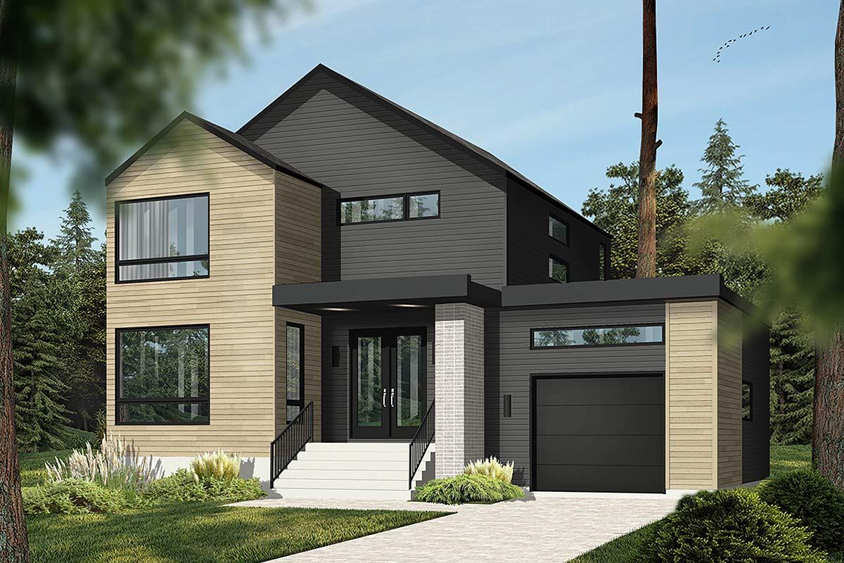 Modern House Plan 76564 with 3 Beds, 2 Baths, 1 Car Garage Elevation