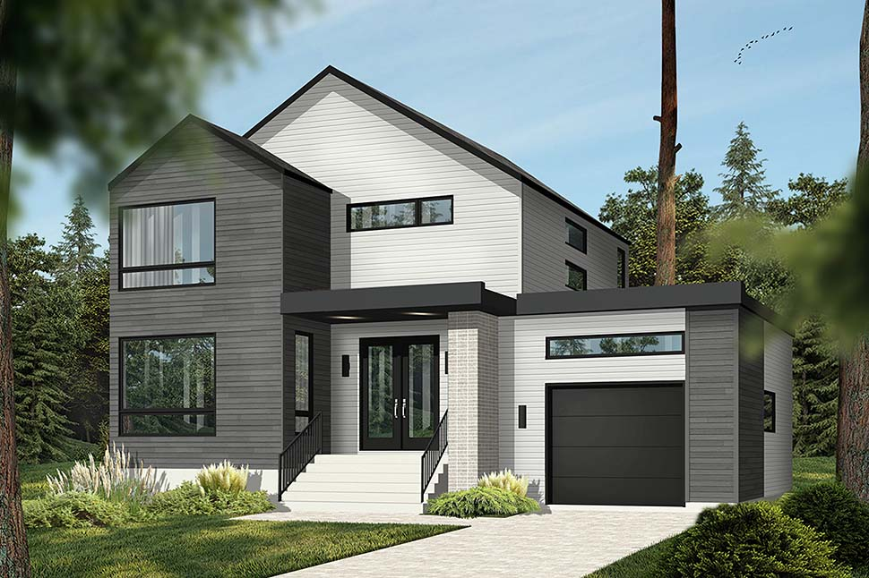 Modern House Plan 76564 with 3 Beds, 2 Baths, 1 Car Garage Picture 2