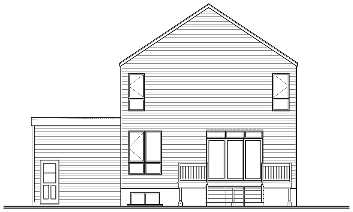 Modern House Plan 76564 with 3 Beds, 2 Baths, 1 Car Garage Rear Elevation