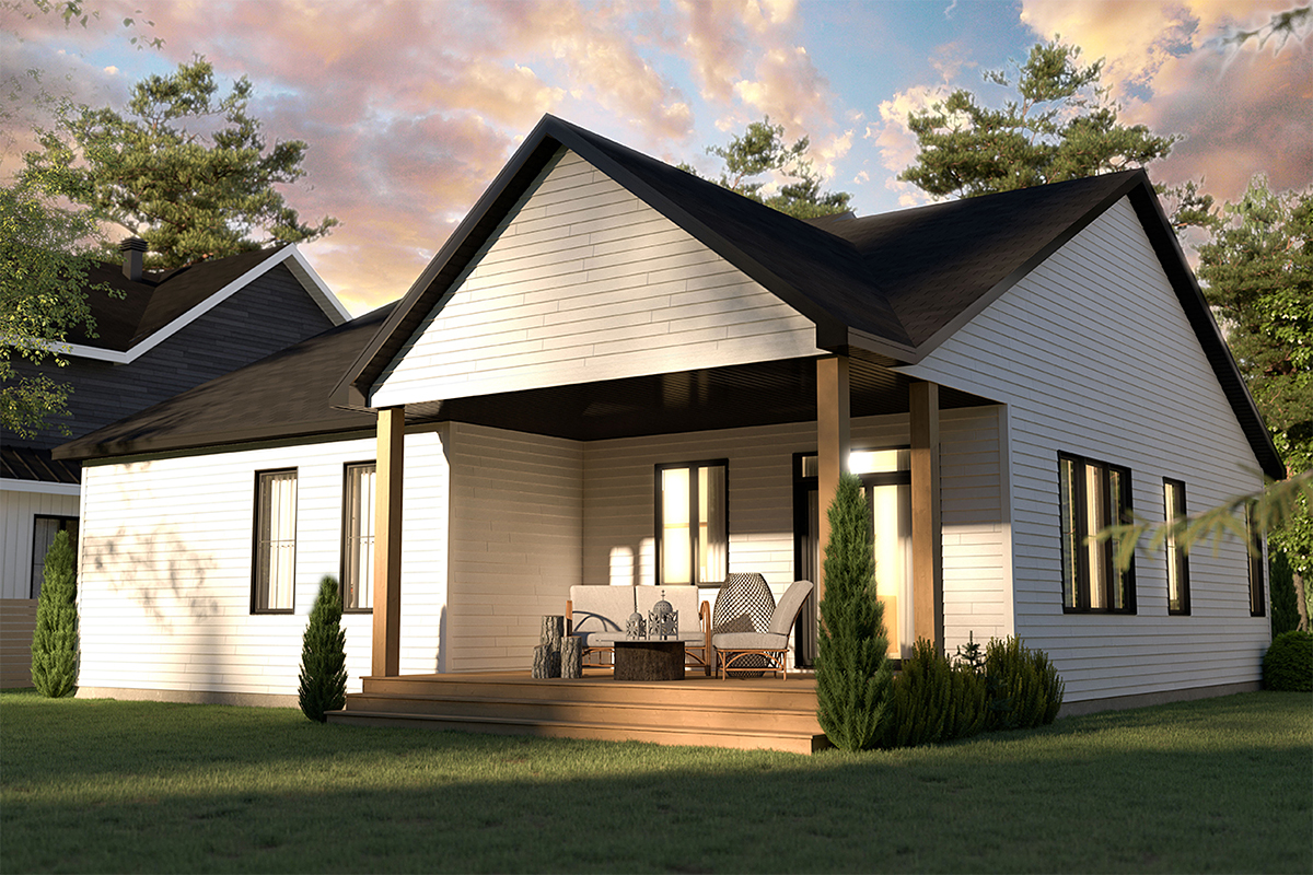 Bungalow, Country, Craftsman, Farmhouse, Ranch House Plan 76568 with 2 Beds, 2 Baths, 1 Car Garage Rear Elevation