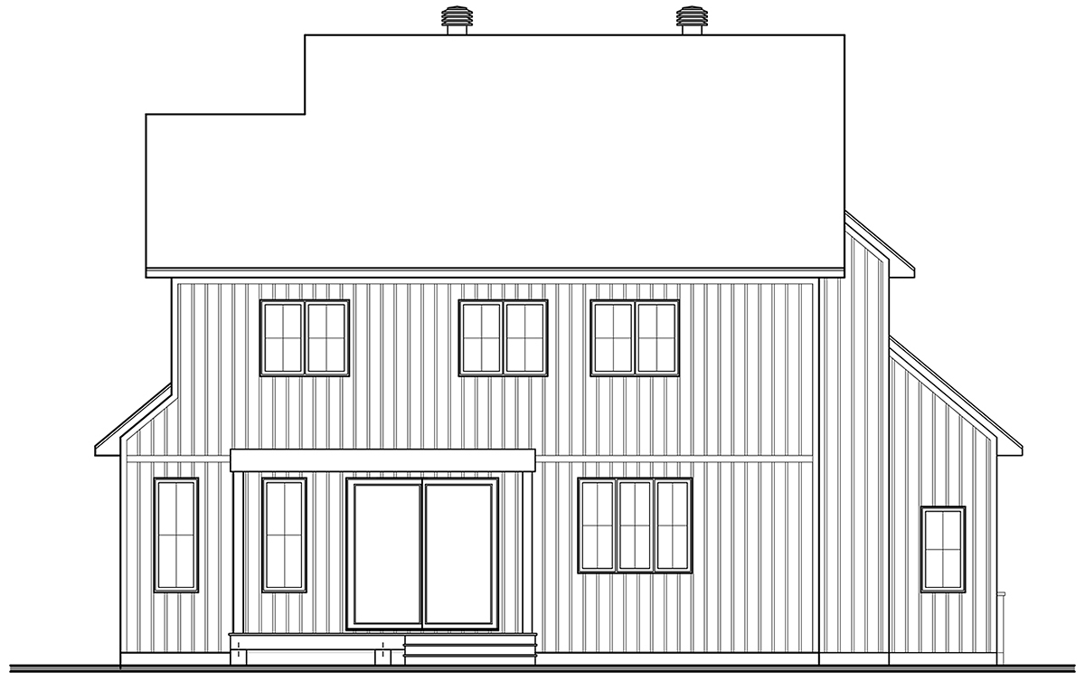 Country, Craftsman, Farmhouse House Plan 76569 with 3 Beds, 3 Baths, 1 Car Garage Rear Elevation