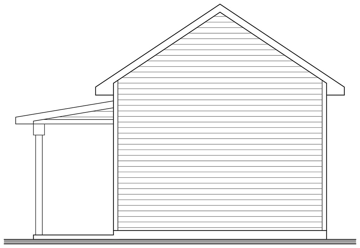 Country, Craftsman, Farmhouse, Ranch 1 Car Garage Plan 76570 Rear Elevation