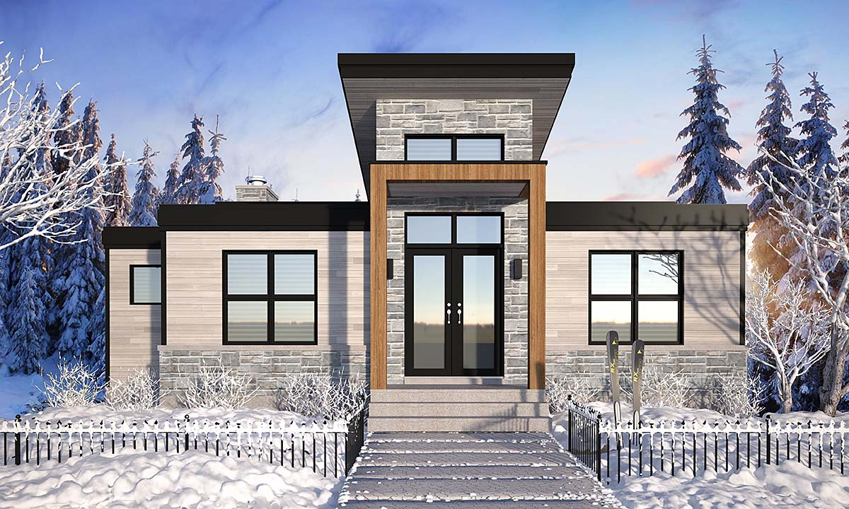 Cabin, Contemporary, Cottage, Modern House Plan 76571 with 4 Beds, 3 Baths Elevation