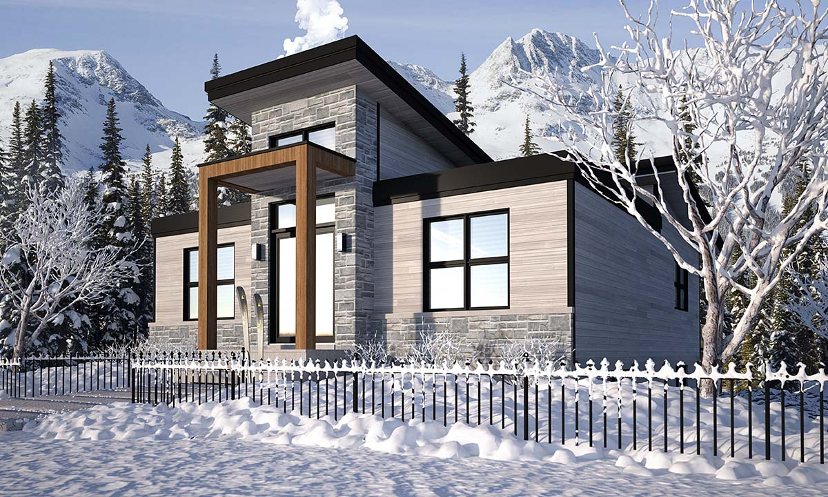 Cabin, Contemporary, Cottage, Modern House Plan 76571 with 4 Beds, 3 Baths Picture 1