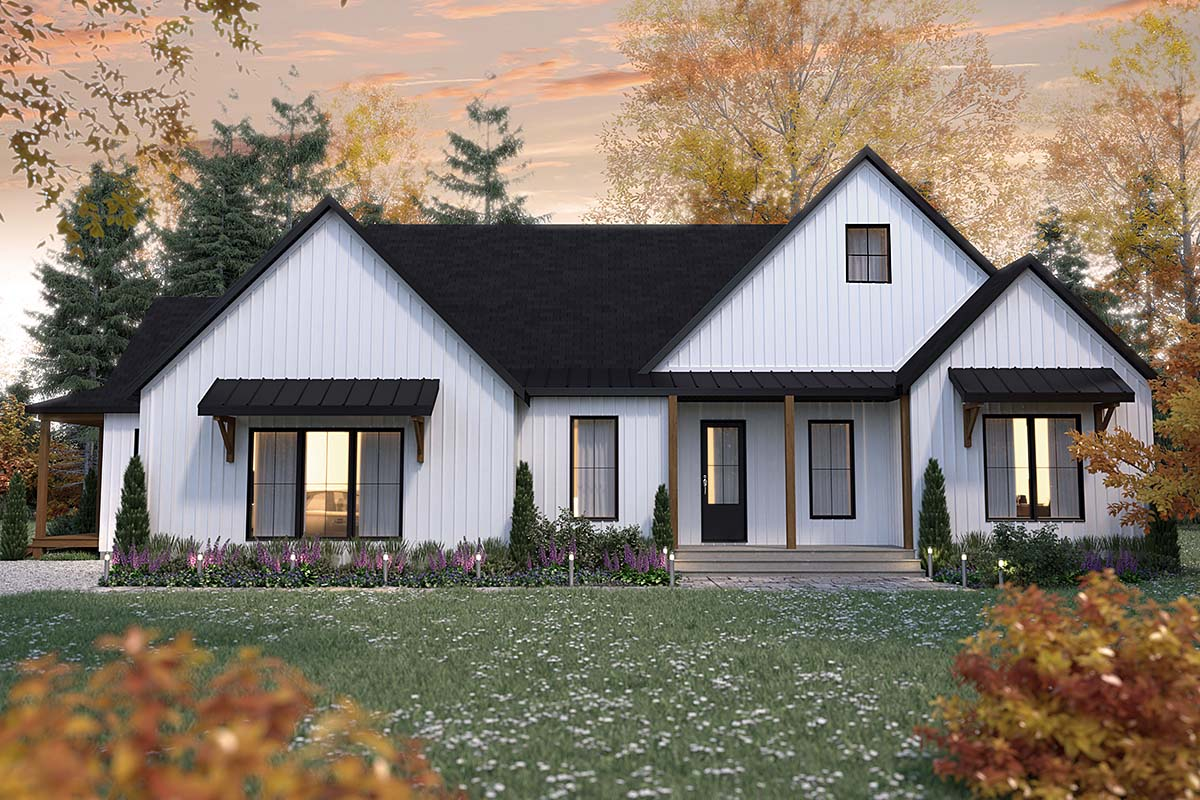 Cabin, Cottage, Country, Farmhouse, Ranch House Plan 76572 with 2 Beds, 3 Baths, 1 Car Garage Elevation