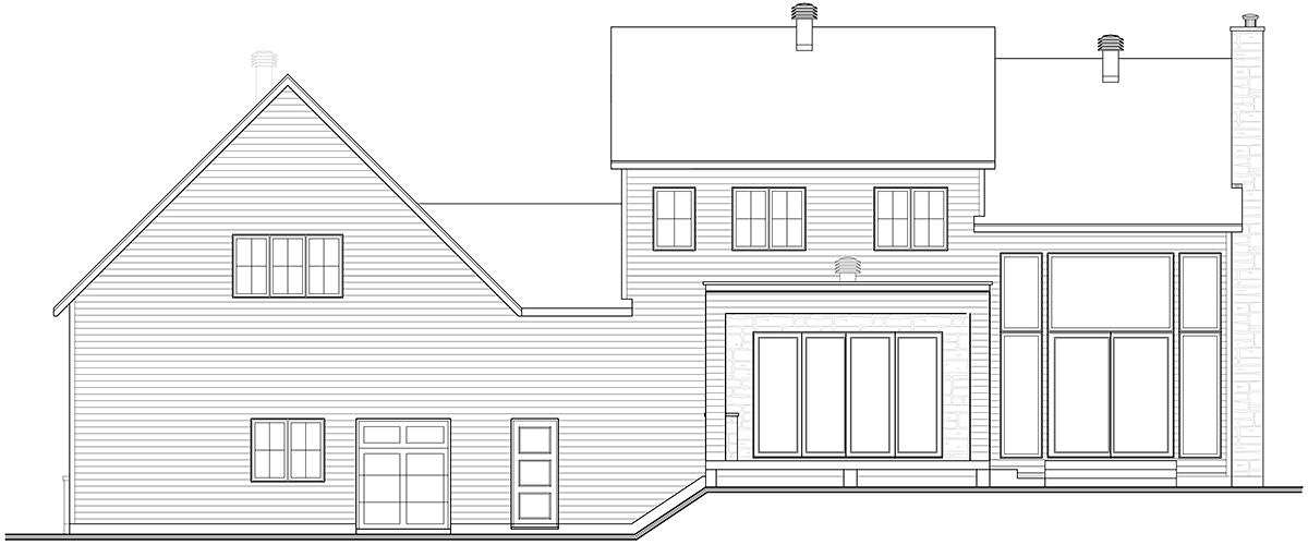 Craftsman, Farmhouse House Plan 76573 with 4 Beds, 3 Baths, 2 Car Garage Rear Elevation