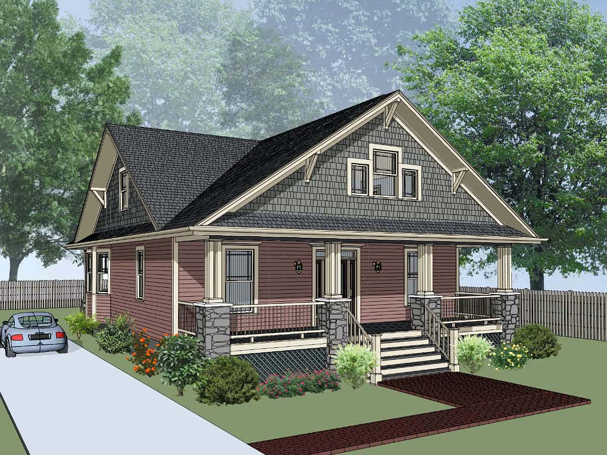 Country, Craftsman House Plan 76604 with 4 Beds , 3 Baths Elevation
