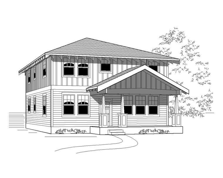 Craftsman House Plan 76821 with 5 Beds, 3 Baths Elevation