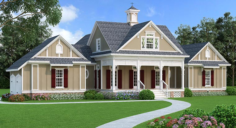 Cottage Country Craftsman Southern House Plan 76914 Elevation