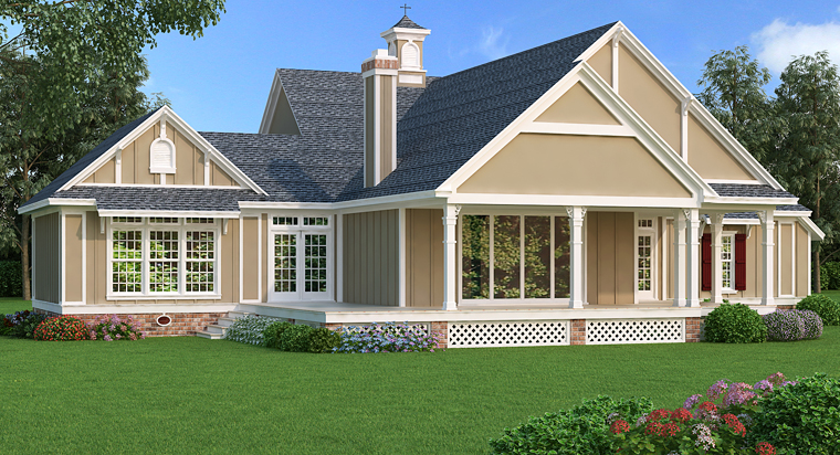 Cottage Country Craftsman Southern House Plan 76914 Rear Elevation
