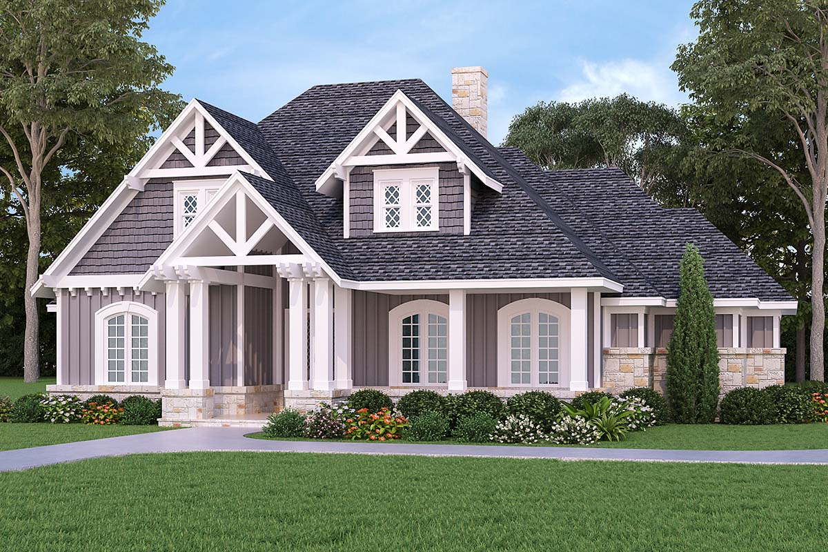 Craftsman, Traditional, Tudor House Plan 76916 with 3 Beds, 2 Baths, 3 Car Garage Picture 1