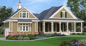House Plan 76921 | Cottage Craftsman Southern Style Plan with 1792 Sq Ft, 3 Bedrooms, 3 Bathrooms, 2 Car Garage Elevation