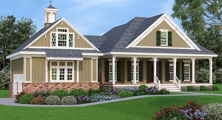 Cottage , Craftsman , Southern House Plan 76921 with 3 Beds, 3 Baths, 2 Car Garage Elevation