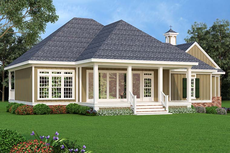 Cottage , Craftsman , Southern House Plan 76921 with 3 Beds, 3 Baths, 2 Car Garage Rear Elevation