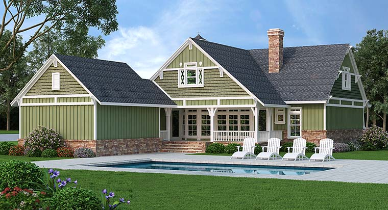 Bungalow Cottage Country Craftsman House Plan 76923 Rear Elevation