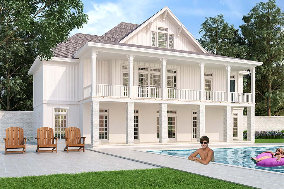 Colonial Country Southern House Plan 76925 Rear Elevation