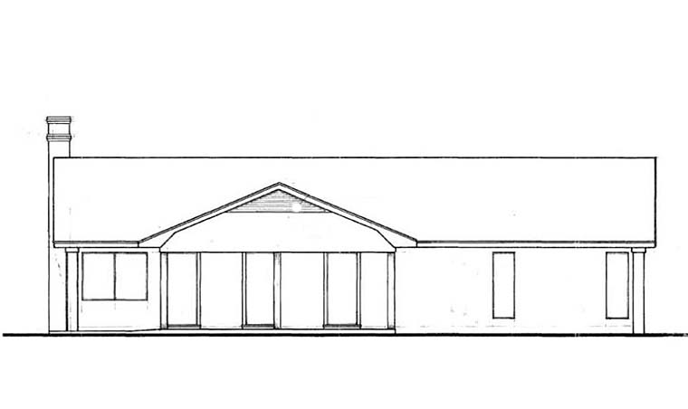 Ranch Traditional House Plan 76930 Rear Elevation