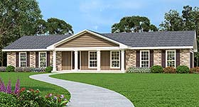 Traditional , Southern , Ranch House Plan 76932 with 3 Beds, 2 Baths, 2 Car Garage Elevation