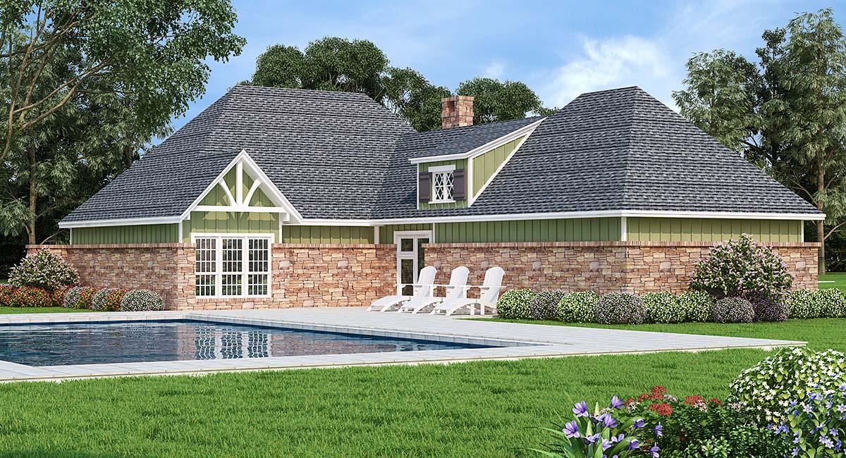 Craftsman House Plan 76934 with 3 Beds, 2 Baths, 2 Car Garage Rear Elevation