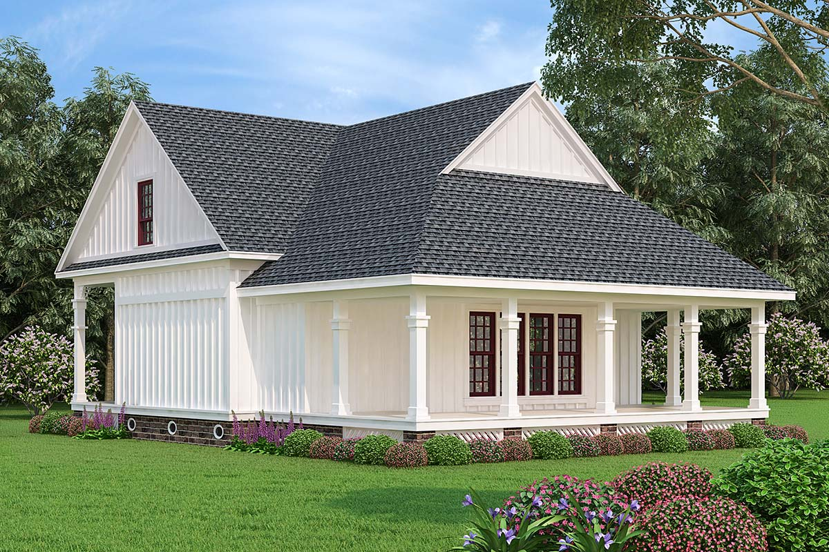 Cottage, Southern House Plan 76936 with 3 Beds, 3 Baths Rear Elevation