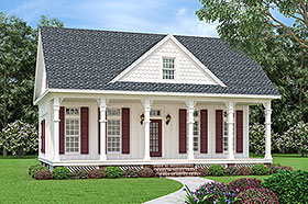 Cottage , Country , One-Story , Traditional House Plan 76938 with 1 Beds, 2 Baths Elevation