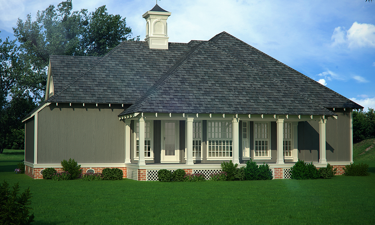 Cottage, Traditional House Plan 76939 with 3 Beds , 2 Baths Rear Elevation