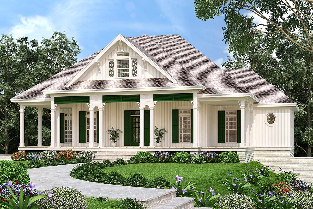Cottage, Southern, Traditional House Plan 76940 with 3 Beds, 2 Baths, 2 Car Garage Front Elevation
