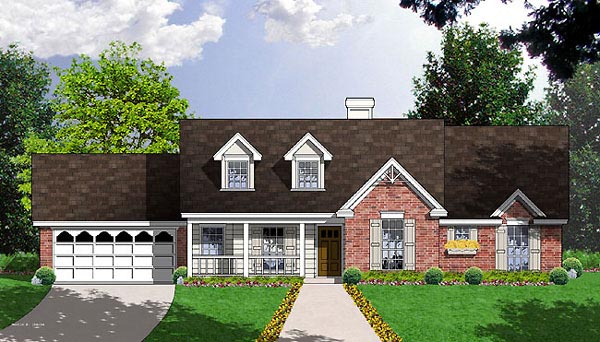 Cape Cod, One-Story, Traditional House Plan 77013 with 3 Beds, 2 Baths, 2 Car Garage Elevation