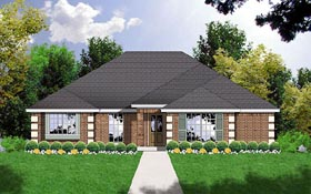 Contemporary , Traditional House Plan 77014 with 3 Beds, 2 Baths, 2 Car Garage Elevation