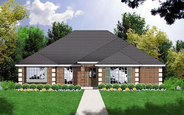 Contemporary Traditional House Plan 77014 Elevation