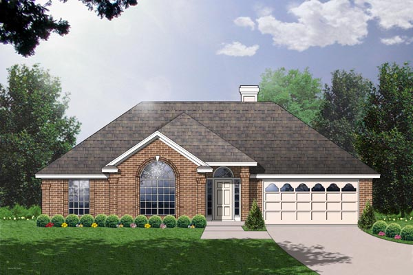 Traditional House Plan 77016 with 3 Beds, 2 Baths, 2 Car Garage Elevation