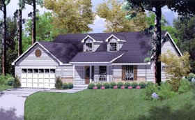 Ranch Traditional House Plan 77018 Elevation