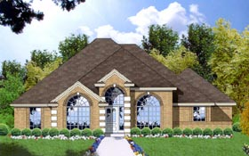 House Plan 77026   European Style Plan with 1640 Sq Ft, 3 Bedrooms, 2 Bathrooms, 2 Car Garage Elevation