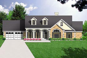 House Plan 77028 | Colonial Country Traditional Style Plan with 1656 Sq Ft, 3 Bedrooms, 2 Bathrooms, 2 Car Garage Elevation