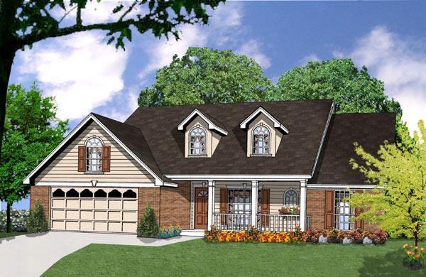 Country House Plan 77029 with 3 Beds, 2 Baths, 2 Car Garage Elevation