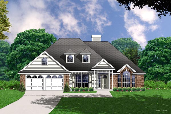 Colonial One-Story Traditional Elevation of Plan 77031