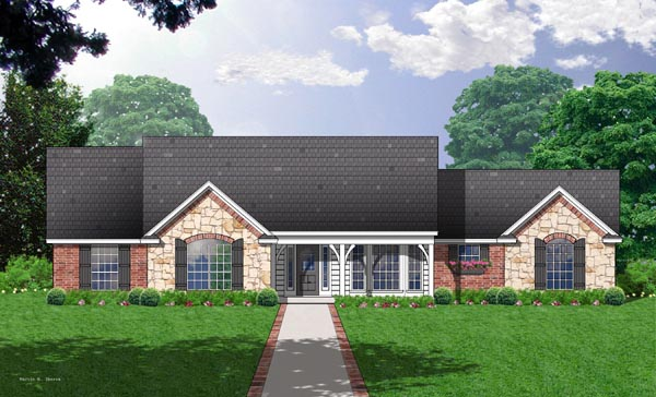 One-Story, Ranch House Plan 77032 with 3 Beds, 2 Baths, 2 Car Garage Elevation