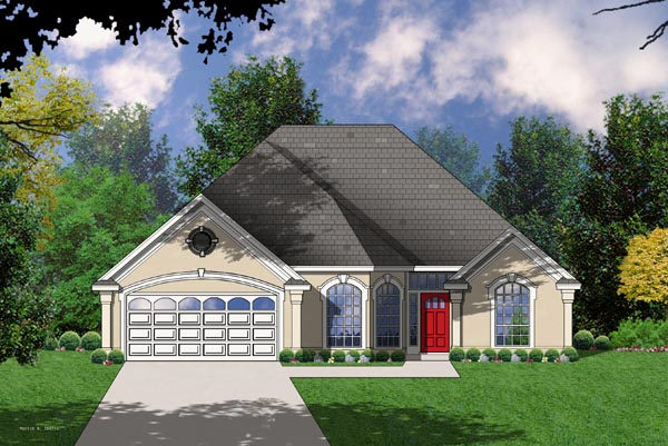 Traditional House Plan 77033 with 3 Beds, 2 Baths, 2 Car Garage Front Elevation