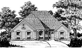 European House Plan 77034 with 3 Beds, 2 Baths, 2 Car Garage Elevation