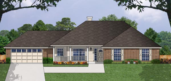 One-Story, Ranch House Plan 77036 with 3 Beds, 2 Baths, 2 Car Garage Elevation