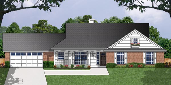 One-Story, Ranch, Traditional House Plan 77037 with 3 Beds, 2 Baths, 2 Car Garage Front Elevation
