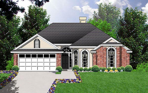 European House Plan 77038 with 3 Beds, 2 Baths, 2 Car Garage Elevation