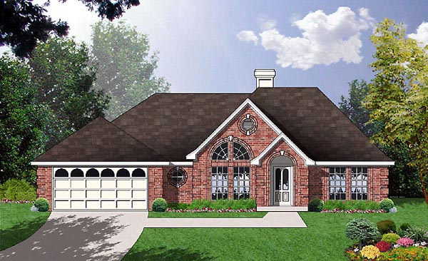 One-Story , Traditional , Elevation of Plan 77040