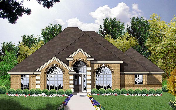 European, One-Story House Plan 77044 with 3 Beds, 2 Baths, 2 Car Garage Elevation