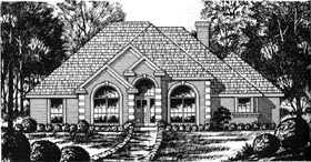European House Plan 77046 with 3 Beds, 2 Baths, 2 Car Garage Elevation