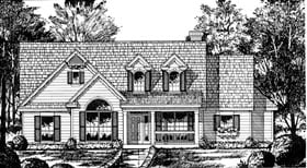 Country , Cape Cod House Plan 77047 with 3 Beds, 2 Baths, 2 Car Garage Elevation