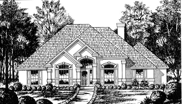 European , Traditional House Plan 77048 with 3 Beds, 2 Baths, 2 Car Garage Elevation